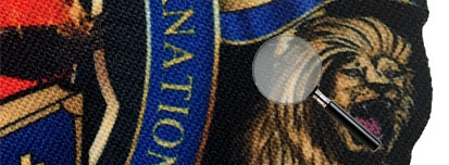 detail of custom bishop tippet seal patch