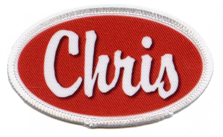 blue with white embroidery Oval Name Patch